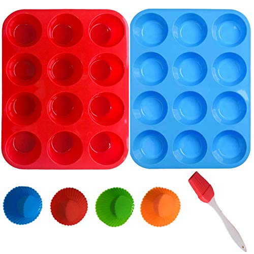 Silicone Muffin Pan - 12 Cups 4 Cake Cups and 1 Oil Brush Regular Silicone Cupcake Pan, Non-Stick Silicone for Making Muffin Cakes, Tart/Dishwasher - Microwave Safe (Red&Blue)