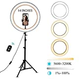 14''Ring Light with Tripod Stand and Cell Phone Holder with Dimmable LED Ring Light for Photography, Makeup and YouTube Video.Selfie Ring Light with 3 Light Modes Compatible with iPhone/Android. (14)