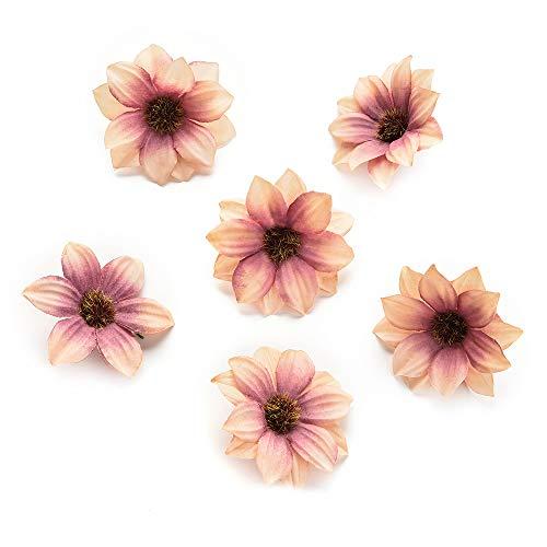 NWSX Flores de seda a granel al por mayor rosas artificiales de seda margaritas rosas flores de pared cabezas de decoración para el hogar boda DIY corona accesorios manualidades 80pcs 5cm (marrón)