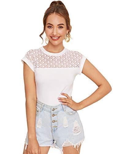 DIDK Damen Elegant T-Shirts Sommer Top mit Spitze Schmal Oberteile Tunika Sommershirts Büro Tops Rundhals Weiß M