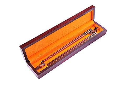 Quantum Abacus Set di Bacchette di Lusso in Pregiata Scatola: 2 Paia di Bacchette Fatte di Legno di Sandalo Rosso, 2 poggiabacchette, SC-H-S2W-RSW-03