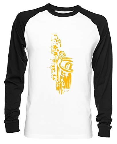 Saxofoon Keywork Unisex Baseball T-shirt Mannen Dames Wit Unisex Baseball T-shirt Men's Women's White