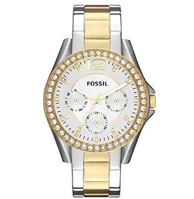 Fossil ES3204 - Reloj analógico de cuarzo para mujer, correa de acero inoxidable multicolor