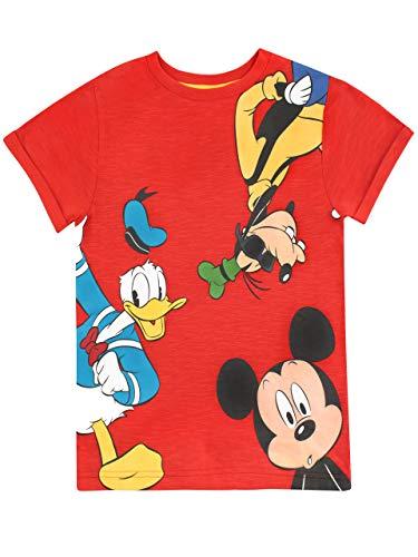 Disney Maglietta per Ragazzi Mickey Mouse Goofy Donald Duck Rosso 6-7 Anni