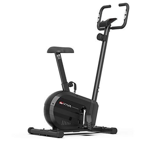 AsVIVA Heimtrainer H23 Cardio Fahrrad, 10kg Schwungmasse, Permanentmagnetbremse, inkl. Fitnesscomputer, 8 manuelle Widerstands-Stufen, Tablet und Smartphone Halterung, Heimtrainer schwarz