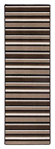Teppichläufer Kurzflorteppich Streifendesign Läufer mit Streifen Küchenläufer – Wohnzimmer Eingangsbereich Flur Küche – mehrfarbig gekettelt strapazierfähig pflegeleicht – 65 x 200 cm beige/braun