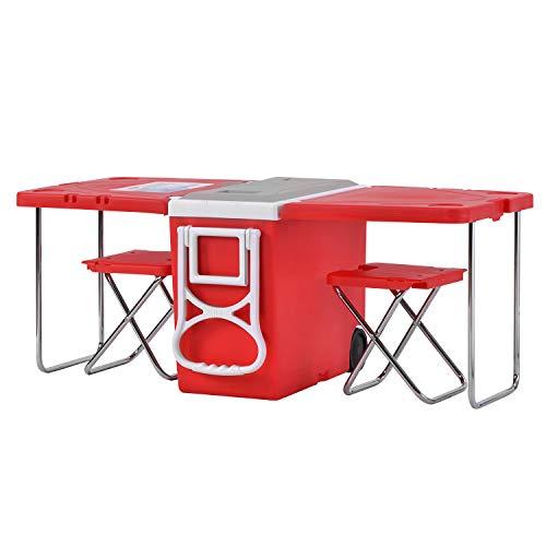 BTM - Nevera portátil con ruedas (28 L, 50 latas), tamaño grande, para picnic, camping, playa, barbacoa, pesca, actividades al aire libre, mesa extensible y plegable con 2 taburetes