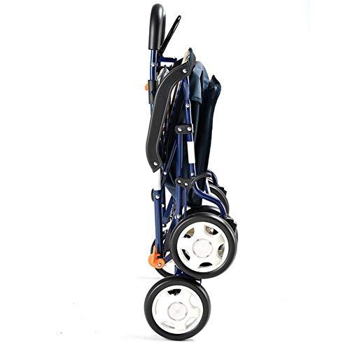 YHANX Shopping Trolley-Opvouwbare Draagbare Winkelwagen/Trolley/Kruidenier Walker met Vier Wielen/Lichtgewicht Opvouwbare Stoel, Geschikt voor Senioren en Mensen in Noodzaak,5.8kg