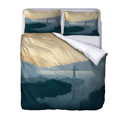 King size duvet covers fishing Quilt Cover Set with Zipper 100% Polyester with 2 Envelope Closure Pillowcases 50x75cm for Children adults woman 220x230cm