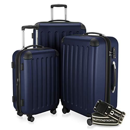 HAUPTSTADTKOFFER - Spree - 3er Koffer-Set + Gepäckgurt - Handgepäck 55 cm, mittelgroßer Koffer 65 cm, großer Reisekoffer 75 cm, TSA, 4 Rollen, Dunkelblau