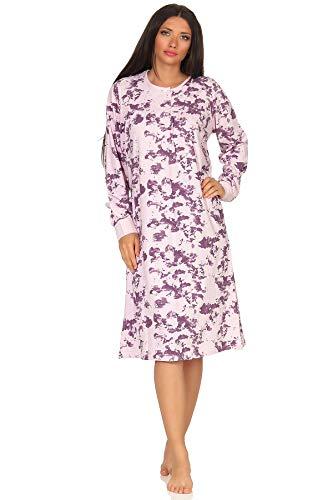 NORMANN-Wäschefabrik Elegantes Damen Nachthemd mit Bündchen und Kopfleiste am Hals - 291 210 90 192, Farbe:rosa, Größe2:52/54