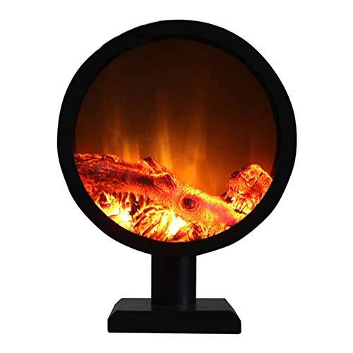 DGYAXIN Chimenea Redonda de pie, Estufa eléctrica sin calefacción, Efecto de Fuego...
