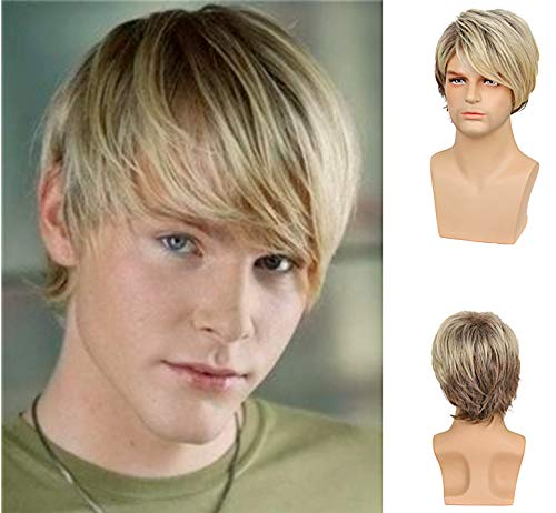 Mens Max 77% OFF Short Wig Layered New item Blonde Heat Synthetic Male Hair Wigs