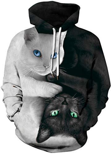 EUDOLAH Damen Pullover 3D Druck Pulli mit Tasche Digitaldruck Pulli mit Aufdruck Galaxy Tier Langarm 0-Schwarz und Weiß Katzen L-XL