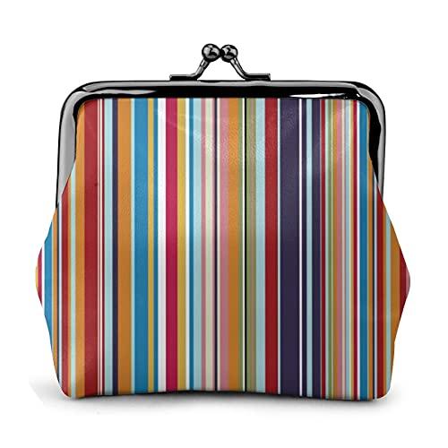 Monedero monedero de cuero de la PU bolsa de múltiples colores rayas mujeres cartera embrague bolso señoras retro vintage impresión pequeño cerrojo