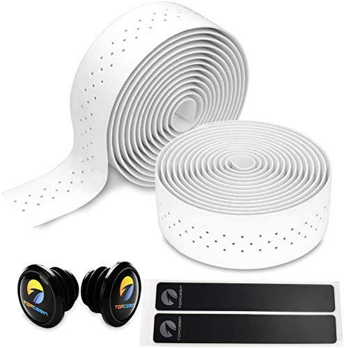 Topcabin® Camouflage-Serie, Bequeme Gel-Lenkerbänder für Rennräder, mit reflektierenden Lenkerendkappen, White(PU a pair)