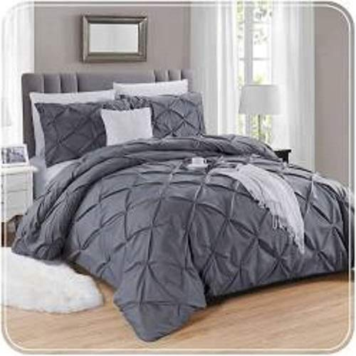 Splingz Pintuck Duvet Cover Set + FREE Flat Sheet - 300TC & 100% Egyptian Cotton, Single (Grey)