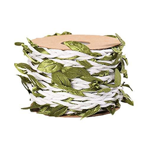 WUHUAROU 5m Jute-Schnur mit künstlichen BlätternKünstliche Blatt Blätter Rebe für rustikale Hochzeit Zuhause Garten Dschungel Party Dekorationen und Bastelarbeite -Weiß