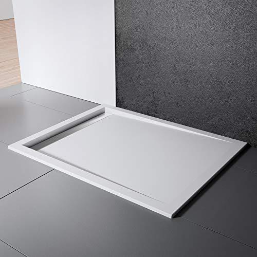 Schulte Duschwanne 90x90 cm, Quadrat extra-flach 2,5 cm, Sanitär-Acryl alpin-weiß, inkl Ablauf mit Rinnenabdeckung chrom-optik und Füßen