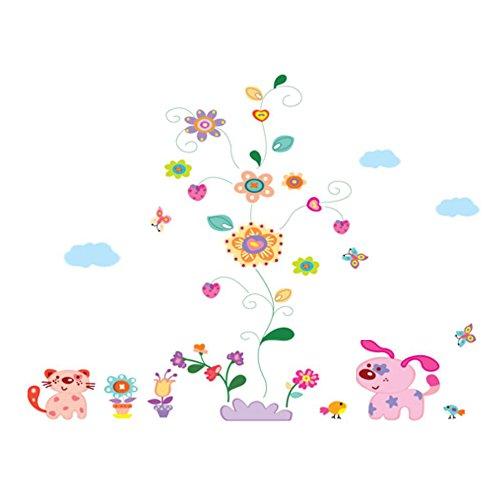 winhappyhome vigne Stickers muraux Fleurs Art Sticker pour chambre d'enfant Salon Chambre TV Fond Stickers Decor amovible