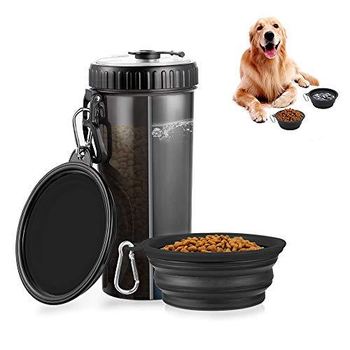 YeenGreen Hund Trinkflasche Haustier Wasserflasche mit 2 Faltschüsseln 2 In1 Hunde Trinkflasche für Unterwegs Tragbare Reise Trinkflasche Haustier Faltbar Reisenäpfe
