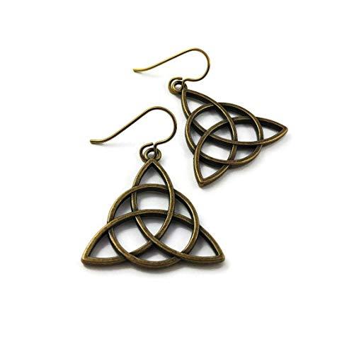 Bronze celtic triquetra trinity knot dangle niobium earrings