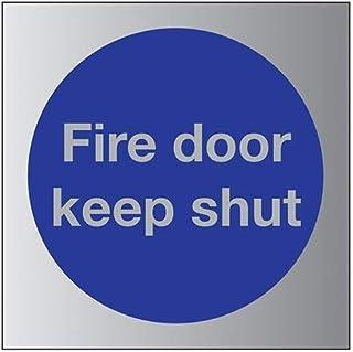 VSafety Fire Door Keep Shut Sign - 80mm x 80mm - 3mm Brushed Alu Comp