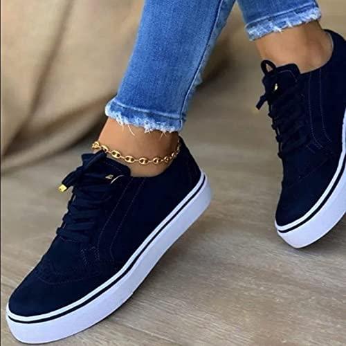 MTHDD Low-Cut Sneaker Canvas Flache Schuhe Frauen Beiläufige Schuhe Damen Sommer Herbst Turnschuhe,Blau,36
