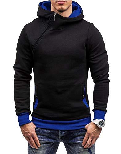 Yidarton Herren Kapuzenpullover Slim Fit Hoodie Sweatshirt Hooded Pullover (Schwarz Blau, Small)