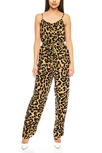 Kendindza Damen Overall Allover-Print | Leopard Jumpsuit | Leo Hosenazug (Braun, S/M)