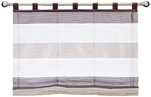 Home Fashion SCHLAUFENRAFFROLLO QUERSTREIFEN SCHERLI GABI, Stein, 130 X 120 cm, 8