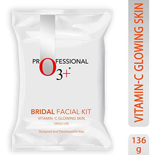O3+ Bridal Facial Kit Vitamin C Glowing Skin for Bright and Radiant Complexion Suitable for All Skin Types (136g, Single Use)