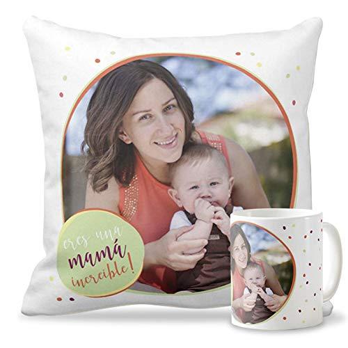 Getsingular Pack Taza + Cojín con Foto para el Día de la Madre | Tazas cerámica Cojín 40x40 cm Relleno Incluido | Varios diseños | Regalos Cumpleaños, Navidad | Frase Eres una Mama increible!|