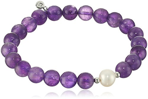 Genuine African Amethyst with White Freshwater Cultured Pearl Accent Beaded Stretch Bracelet, 6.5