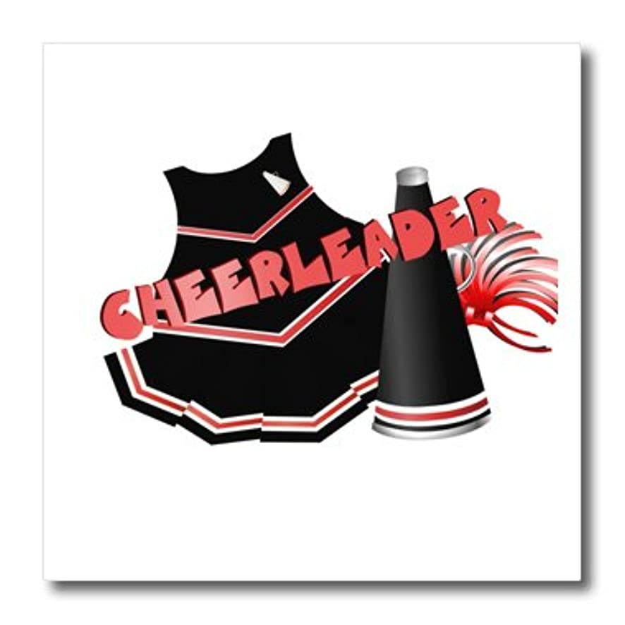 3dRose ht_25974_1 Cheerleader in Black and Red-Iron on Heat Transfer for White Material, 8 by 8-Inch