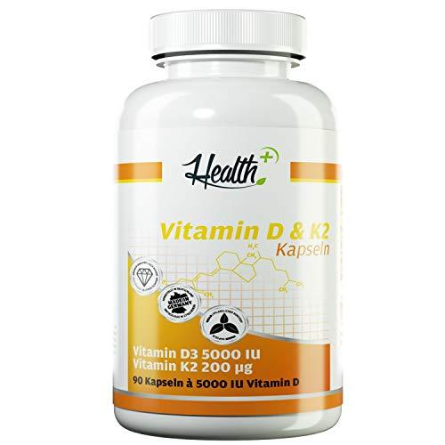 HEALTH+ VITAMIN D3 & K2, 90 Kapseln je 5000 IE Vitamin D3 und 200 mcg Vitamin K2, hochdosiertes Vitamin D für starken Knochenbau und Zähne, Health-Plus Nahrungsergänzungsmittel Made in Germany