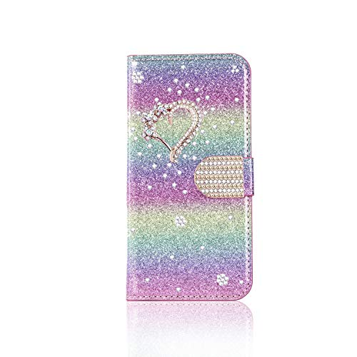 Samsung Galaxy A21S Case, 3D Love Heart Glitter Diamonds PU Leather Flip Wallet Phone Case with Card Slots Magnetic Stand Shockproof Soft TPU Bumper Protective Cover for Samsung A21S, Rainbow Pink