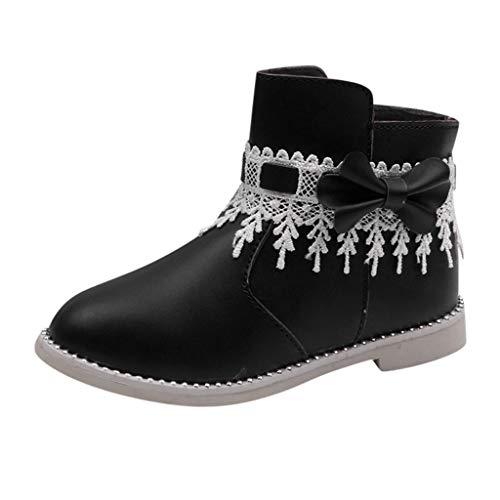 Niños Bebé Niños Niñas Bebé Encaje Bowknot Princesa Cremallera Botas Cortas Zapatillas Zapatillas Cuna Zapatos De Invierno Cálido Botines, color Negro, talla 27 EU