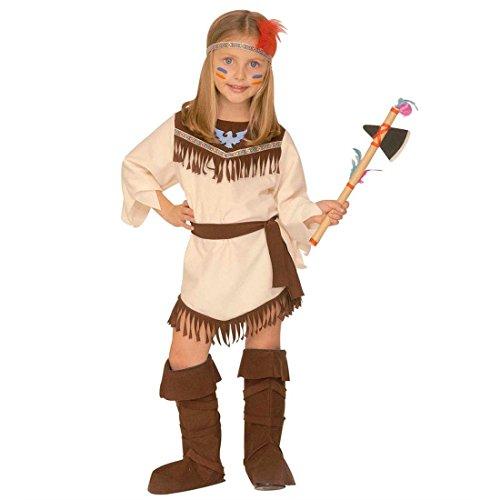 NET TOYS Déguisement Indienne Squaw Costume pour Enfant Pocahontas Costume de Fille Indian Girl Robe Lady Grand Chef Déguisement de Carnaval Western 116 cm/5 Ans