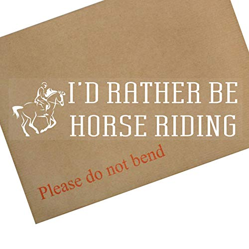 Platinum Place 1 x I d Rather be Horse Riding-White en transparente ventana de coche, coche, caballo, competición, silla de montar a caballo, carreras, montar a caballo, pony, silla de montar