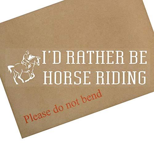 Platina plaats 1 x ik zou liever paard rijden-wit op Clear-Car Window Sticker-Paard, wedstrijd, zadel, Racing, Rijden, Pony, Zadel