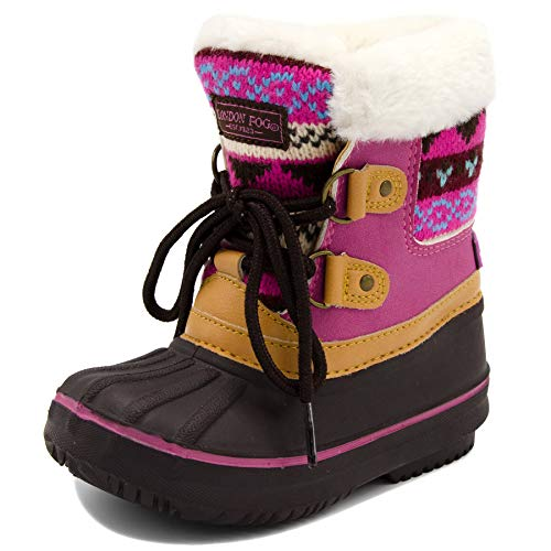 LONDON FOG Girls Toddler Tottenham Cold Weather Snow Boot BR/FUS Size 10 Toddler Brown/Fuchsia