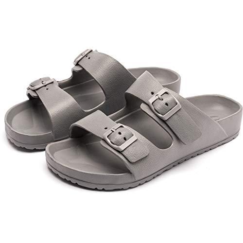 BEEDPAN Double Buckle Adjustable Slide Sandals Comfort Indoor & Outdoor EVA Flat Sandals(Grey 3.5 M US Adult)