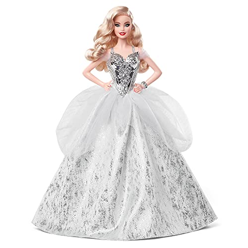 Barbie Signature 2021 Holiday Doll (12-inch, Blonde Wavy Hair) in Silver Gown, with Doll Stand and Certificate of Authenticity, Gift for 6 Year Olds and Up