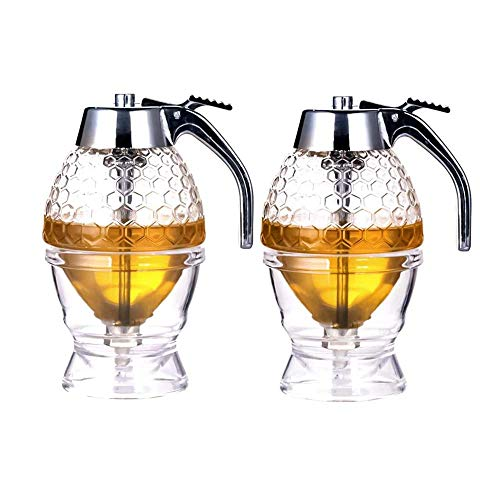Honey dispenser, syrup dispenser, beautiful honeycomb honey jar, honey jar with stand (2Pack)