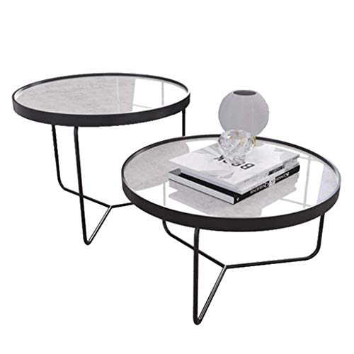 Nesting Home Coffee Side End Table (2 Pieces) Round Marble Top Finish Sturdy Metal Base for Leisure Living Room Tea Bar Table(Color:White,Size:50+50cm)