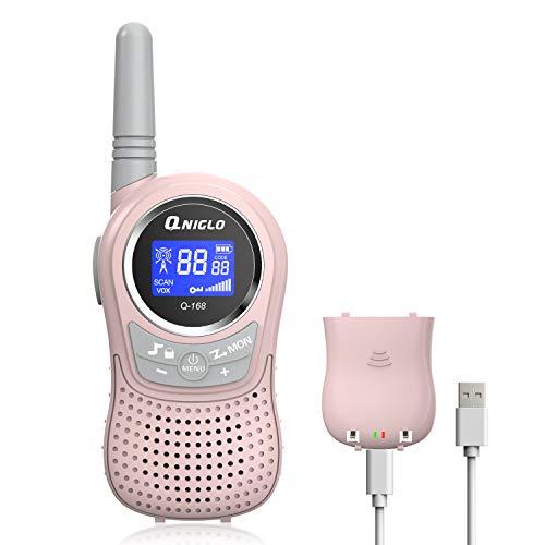 QNIGLO Walkie Talkie Set für Kinder, PMR 8 Kanal Kinder Funkgerät mit Wiederaufladbaren Akkus(Pink)