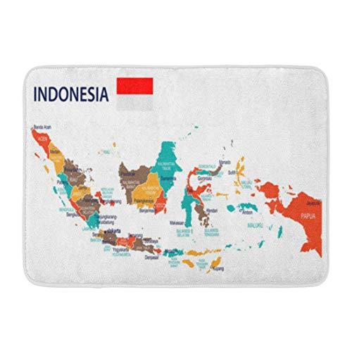 Bad Matte grün Bandung rot Jakarta Indonesien Karte Flagge sehr detaillierte braun Bali gelb Hauptstadt Badezimmer Dekor Teppich