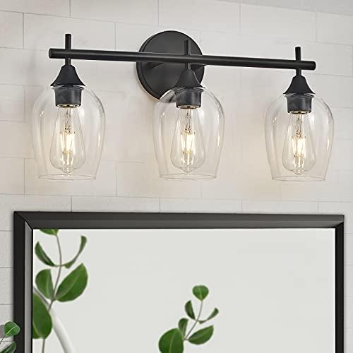 DUJAHMLAND Modern Black Vanity Light,Industrial 3-Light Indoor Wall Light Bathroom Vanity Lighting with Wine Glass Lights Shade, for Hallway,Kitchen,Bedroom.(Black, 3-Light)