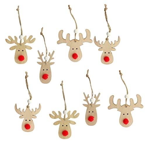 Set di 8 ciondoli natalizi per albero di Natale, decorazione natalizia con testa di renna in legno con pompon rosso, decorazione per albero di Natale da appendere, effetto 3D
